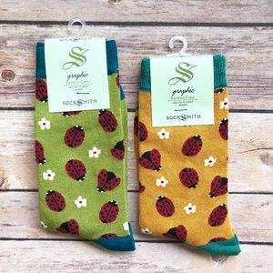 Bundle of 2 pairs Bamboo Womens Ladybug Crew Socks
